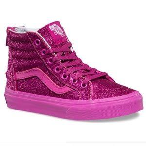 Vans Girls Sk8 Hi-Zip Old Skool Pink Glitter